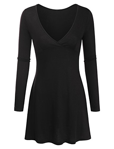 Clovery Womens Longsleeve V Neck Coll Fabric Basic Casual Dress BLACK,L