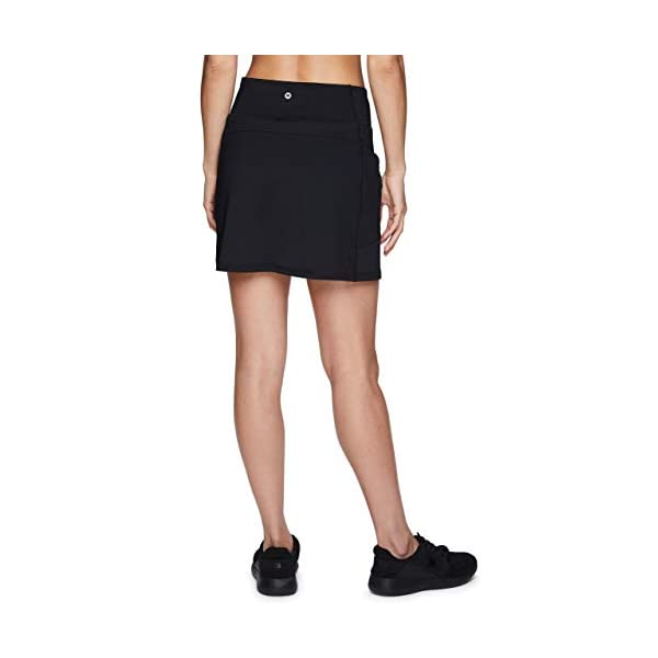 RBX Active Women's Fashion Stretch Knit Flat Front Golf/Tennis Athletic Skort with Attached Bike Short and Pockets 12