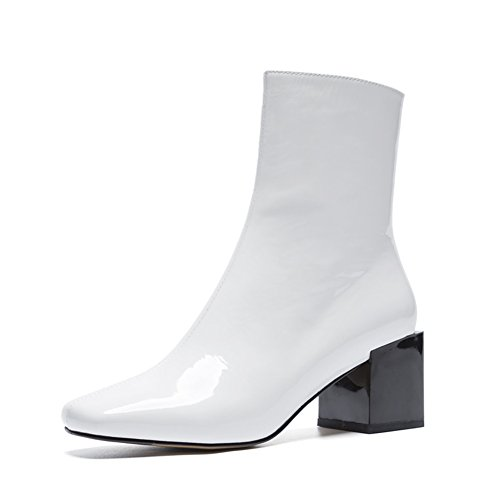 Seven Nine Heel Ankle Side Women's Toe Leather White Zip Patent Fashion Chunky Round Boots Dress Handmade dr0qrg