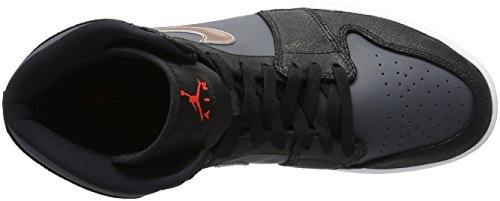 Nike Damen Air Jordan Vintage Freizeit Oldschool Basketballschuh Black (schwarz / rot MTLC Bronze-dunkelgrau-weiß)