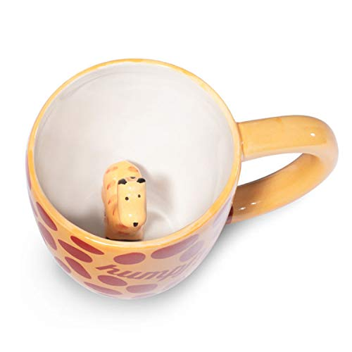 Ceramic Animal Giraffe Coffee Mug - humpf! Cute Cup with a Surprise Inside Giraffe Skin Print for Coffee, Tea and Beverages - Premium-Quality, Dishwasher Safe Materials - 10 oz by Goodscious (Print Mug Giraffe)