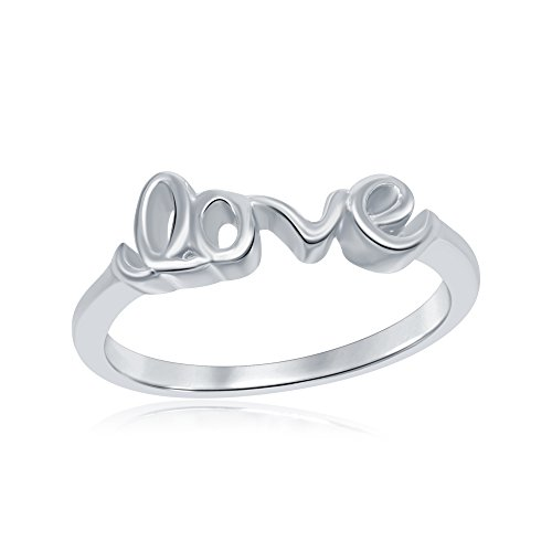 AceLay 925 Sterling Silver Infinity Ring, Wedding Engagement Love Script Plain Band Ring Size 3-10 (6) by AceLay