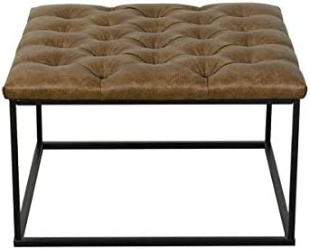 HomePop Draper Ottoman with Button Tufting – Light Brown Faux Leather