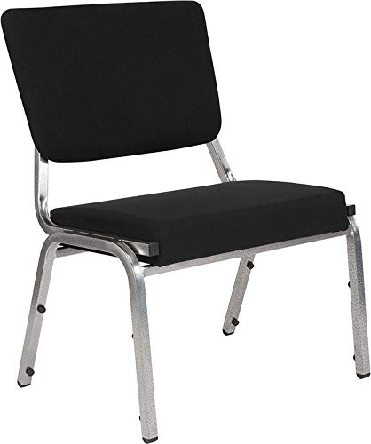 Flash Furniture HERCULES Series 1500 lb. Rated Black Antimicrobial Fabric Bariatric Chair with 3/4 Panel Back and Silver Vein Frame