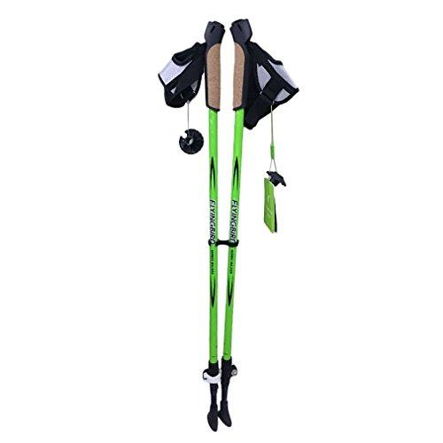 OUTAD Trekking poles Travel Hiking Poles Ultralight Retractable Carbon Fiber Walking Anti Shock Sticks One Pair ( Green)