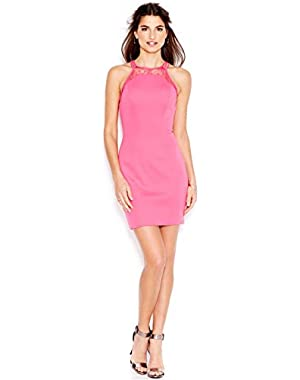 Guess Women's Pink Illusion Lace Scuba Body-con Dress Size 12