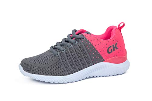 Kids Athletic Tennis Shoes - Little Kid Sneakers with Girl and Boy Sizes Grey/Fuchsia Size 5 Big Kid (Gris/Fucsia - 37) 5 M US