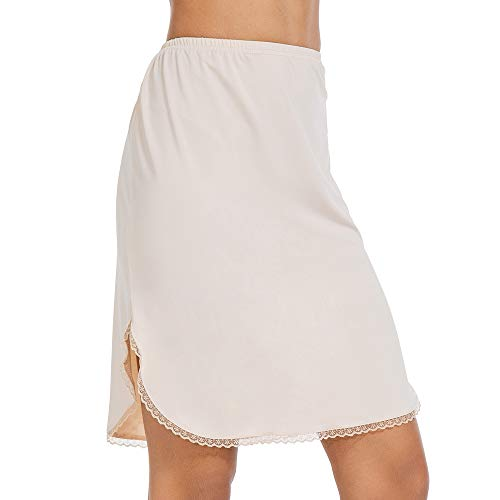 Half Slips for Women Underskirt Short Mini Skirt with Floral Lace Trim Nude - Mini Half Slip