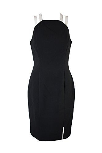 Lauren Ralph Lauren Womens Two Tone Sleeveless Cocktail Dress Black-Ivory 14