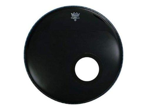Remo P31020ES-DM 20-Inch Ebony Powerstroke 3 Bass Drumhead with 5-Inch Black Dynamo - Remo Powerstroke 3 Black Resonant
