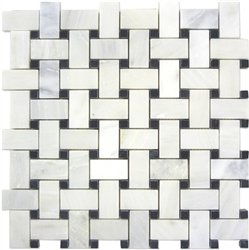 White Marble Basketweave Mosaic Tile Black Dots 1 x 2 Polished from Stone Center Online