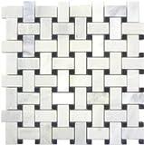 White Marble Basketweave Mosaic Tile Black Dots 1 x 2 Polished