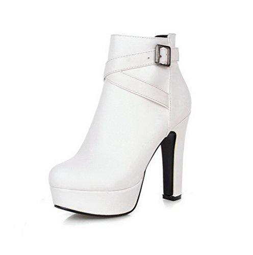 AgooLar Damen Blend-Materialien Hoher Absatz Niedrig-Spitze Reißverschluss Stiefel Weiß