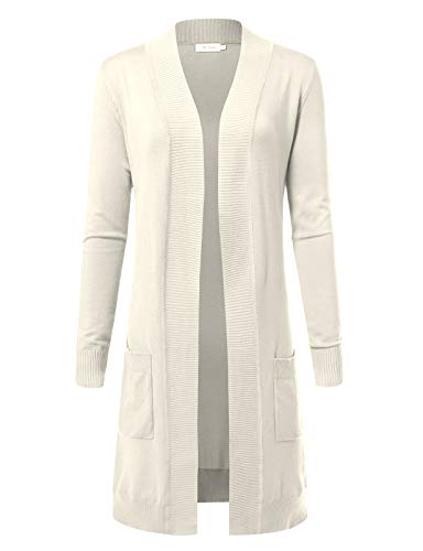 Women's Solid Soft Stretch Longline Long Sleeve Open Front Cardigan S Ivory
