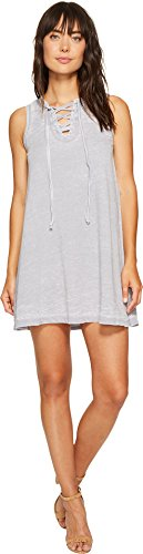 Allen Allen Womens French Terry Tie Front Dress Dark Grey MD (Women's 8-10) One -