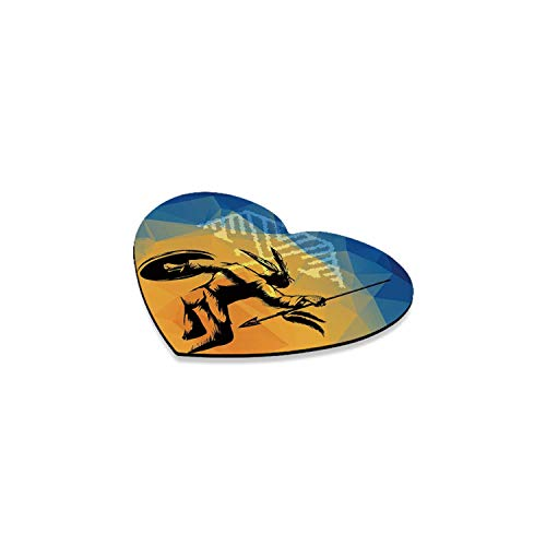 Native American Romantic Heart Coaster,War Dance Ritual Against Ancient Totem Poly Effect Triangles Abstract for Home,4