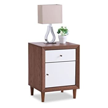 Baxton Furniture Studios Harlow Mid Century Wood 1 Drawer And 1 Door  Nightstand, Medium