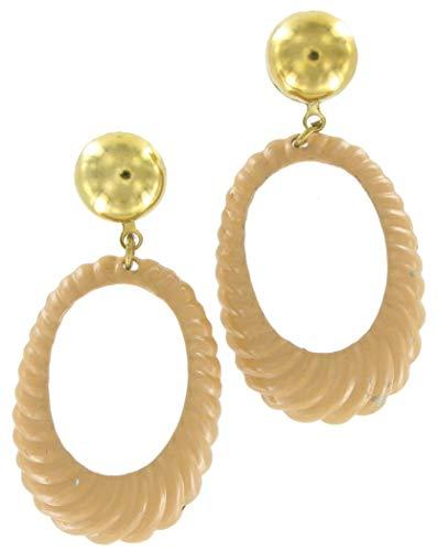 - 70S Rippled Oval Enamel Hoop Dangle Earrings Sandy Tan Earrings For Women Set