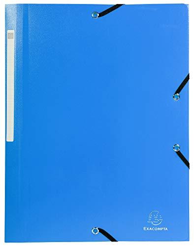 Exacompta 55802E - Carpeta con 3 Aletas y Cierre de Goma, DIN A4, color azul [1 Unidad]