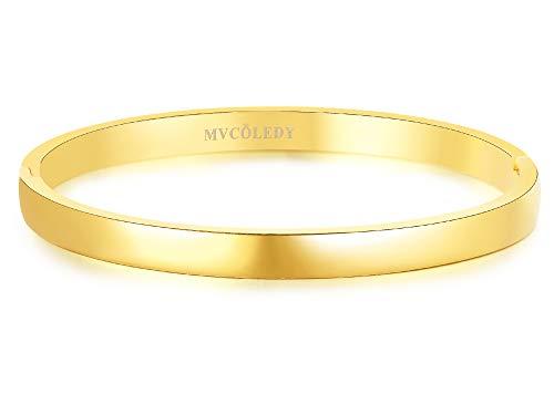 MVCOLEDY Jewelry 18 K Gold Bangle Bracelet High Polished Bangle Shiny Minimalist Stainless Steel Bangle for Women Size 7