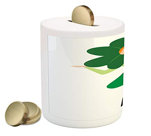 Ambesonne St. Patrick's Day Piggy Bank, Lucky Lady with Clover Hat Costume Pattern, Printed Ceramic Coin Bank Money Box for Cash Saving, Green Pale Green Orange Pistachio Green