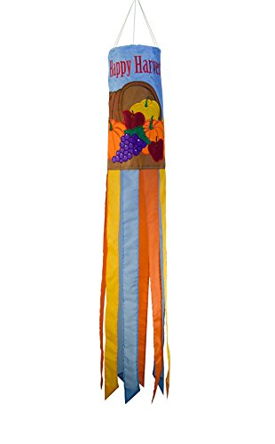 In the Breeze 5030 Happy Harvest 40 Inch Windsock Hanging Thanksgiving Decoration - Outdoor Holiday Décor