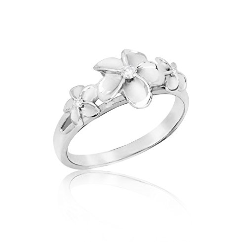Hawaiian Three Plumeria Ring in Sterling Silver with CZ, Size 8 (Plumeria Silver Ring Jewelry)