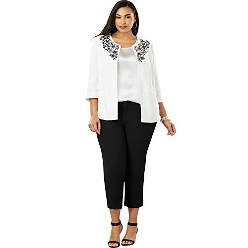 Jessica Pant Suit - Jessica London Women's Plus Size Embroidered Pant Suit - Ivory Poppy Embroidery, 12 W