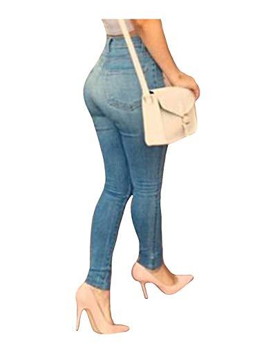 Botón Bolsillos Pantalones De Las Mezclilla Con Flaco Cintura Lápiz Alta Mujeres Colour Casuales Vaqueros Estiramiento q7vTxwq1F