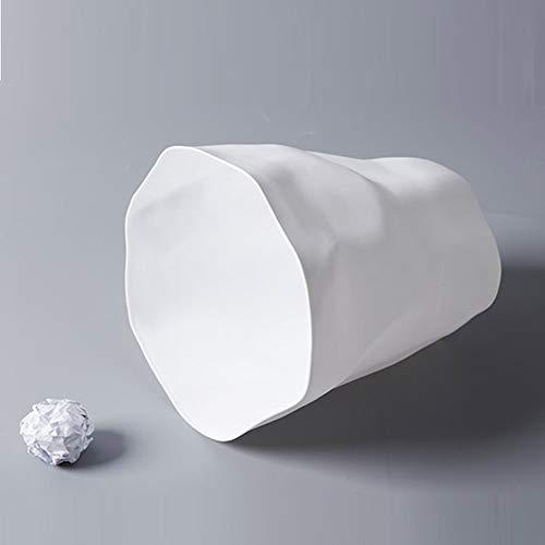 Silverkial Bidone della Spazzatura Pieghettato Creativo Nordico Bagno della Famiglia Senza Copertura Cestino della Carta straccia di plastica Camera da Letto Semplice Bianco-Spazzatura
