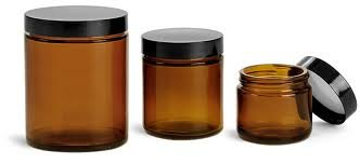 1 Oz Amber Cosmetic Ointment Jars (12) (Black ribbed lid)