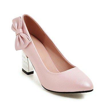 Talones de las mujeres Zapatos Primavera Verano Otoño Invierno club Comfort PU banquete de boda y vestido de noche de tacón grueso del Bowknot Negro Blanco Rosa White