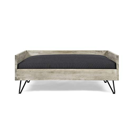 Great Deal Furniture Ophelia Mid-Century Modern Pet Bed with Acacia Wood Frame, Light Gray and Gray