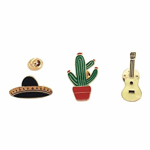 (FUNDAISY Fun Daisy 3Pcs Cartoon Cactus Potted Plant Brooch Pin for Coat Handbag Hat Accessory)