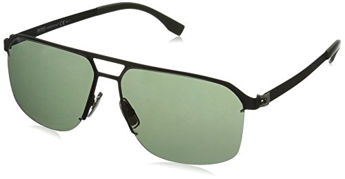 n's B0839s Rectangular Sunglasses, Matte Black/Gray Green, 61 mm (Matte Black Gray Green)