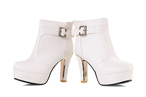High Solid Boots Material Soft Heels Pull Women's On Low Allhqfashion White Top pxSROO