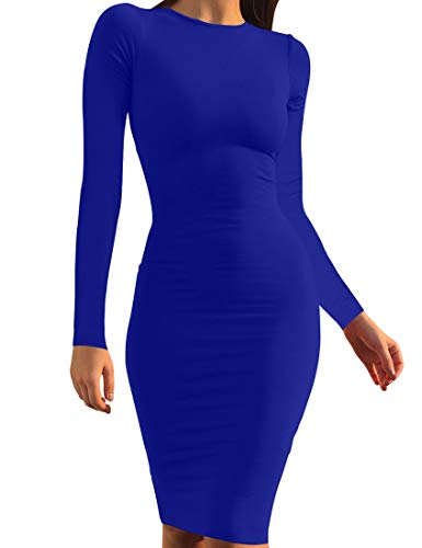 Mokoru Women's Casual Basic Pencil Dress Sexy Long Sleeve Bodycon Midi Club Dress, Medium, Royal Blue