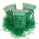 3 Pack of Green Reusable Shredded Plastic Easter Basket Gras