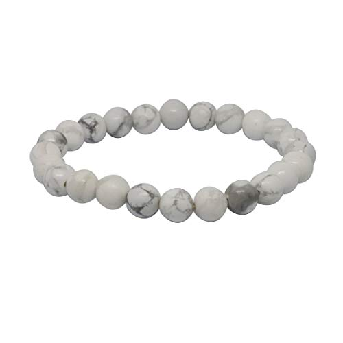 Turtledove Natural Semi Precious Gemstone Beaded Bracelet for Men & Women Stretchable Unisex Vintage Lucky Charm Stretch Bracelet 7.2'' (White)