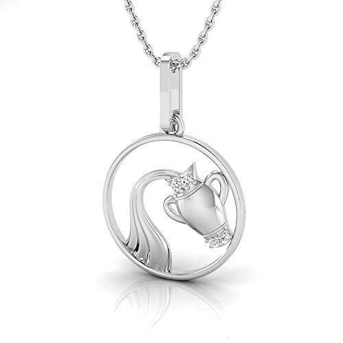 IGI Certified 1/50 Carat Natural Diamond Sterling Silver Aquarius Zodiac Pendant for Women with Chain (J-K Color, I2-I3 Clarity)