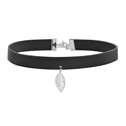 Edforce Women's Black Leather Adjustable Leather Choker Band Necklace Neckband Collar Pendant (Silver Leaf)