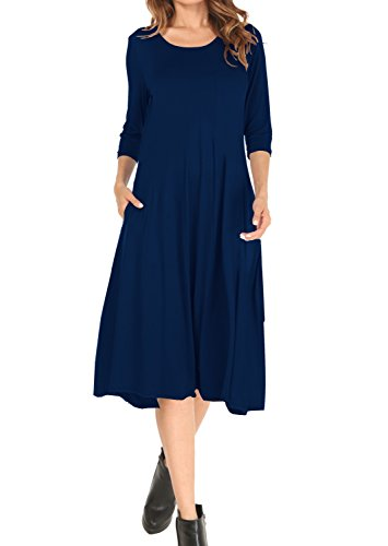 navy 3/4 sleeve midi dress - 9