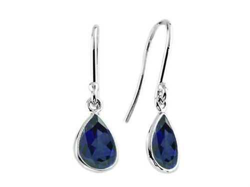 (Finejewelers 9x6mm Pear Shaped Created Sapphire Fishhook Earrings Sterling)