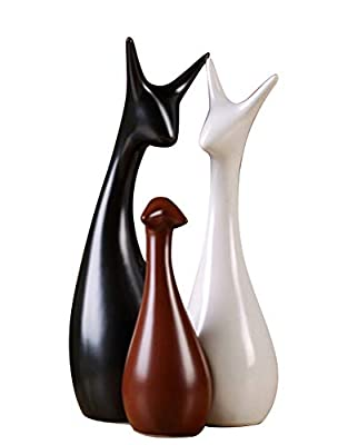 Animal Ornament Ceramic Deer Family Lovers Home Decor Accents Art Abstract Sculpture Art Piece with Glossy Finish Perfect for Table,Dinning Room,Office Ornament Figures Decor (White+Black+Brown)