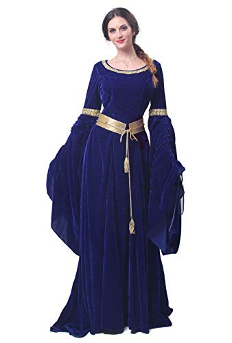 Womens Medieval Maxi Dress Renaissance Princess Girls Long Flared Sleeve Costume Irish Gothic Vintage Victorian Retro Gown (XX-Large, Blue 1)