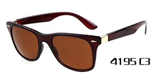 Flowertree Unisex R4195 Plastic Gradient Wayfarer 52mm Sunglasses (clear brown+brown) (Sunglasses Wayfarer Plastic)