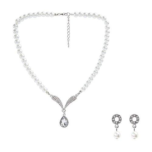 Metme 1920s Gatsby Accessories Set Pearls Crystal Pendant Necklace Rhinestone Earrings
