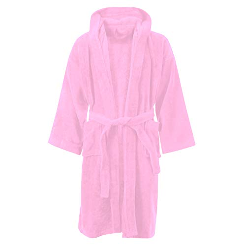 Sapphire collection Kids Boys Girls 100/% Cotton Bathrobe Hooded Terry Towelling Shawl Collar Bath Robe Bath Robe Dressing Gown 7 Colours Age 8-14