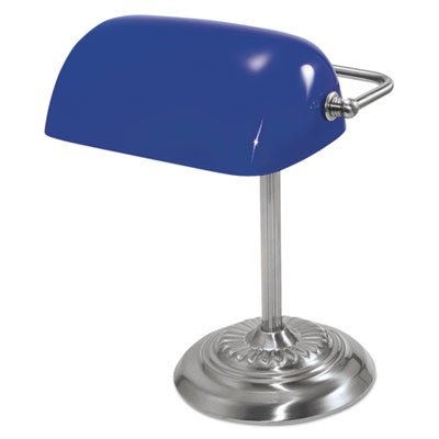 Traditional Incandescent Banker's Lamp, Blue Glass Shade, 14