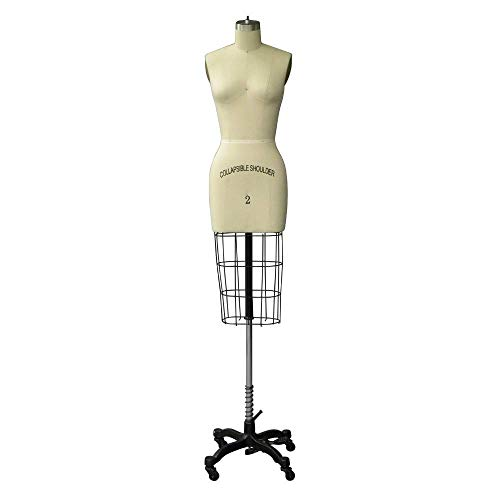 Professional Female Half Body Dress Form with Collapsible Shoulder and Arm (Size 2)